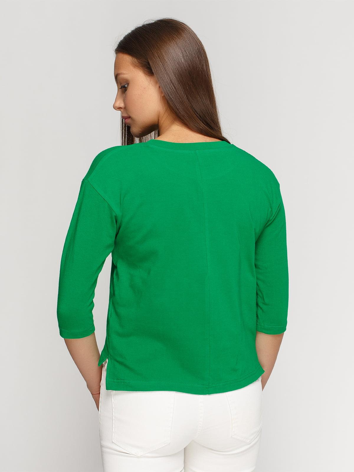 Лонгслив зеленый с принтом | 4578152 | фото 2