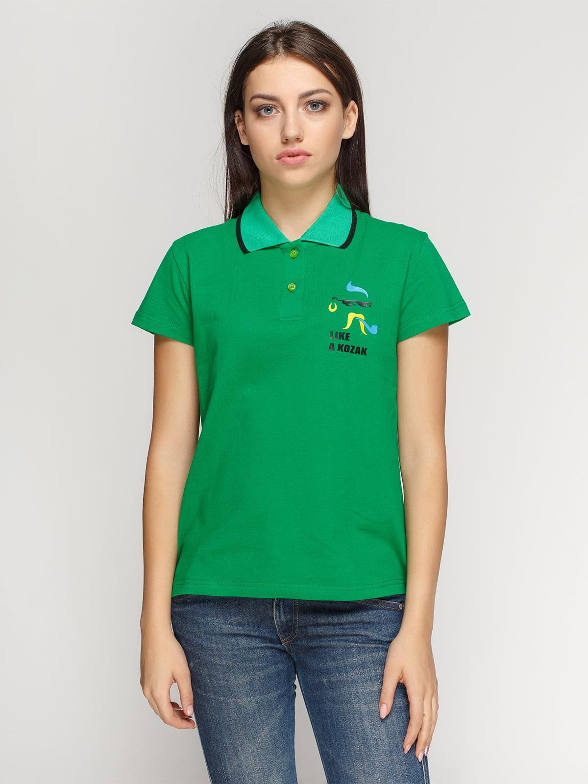 Футболка-поло зеленая с принтом | 4578483