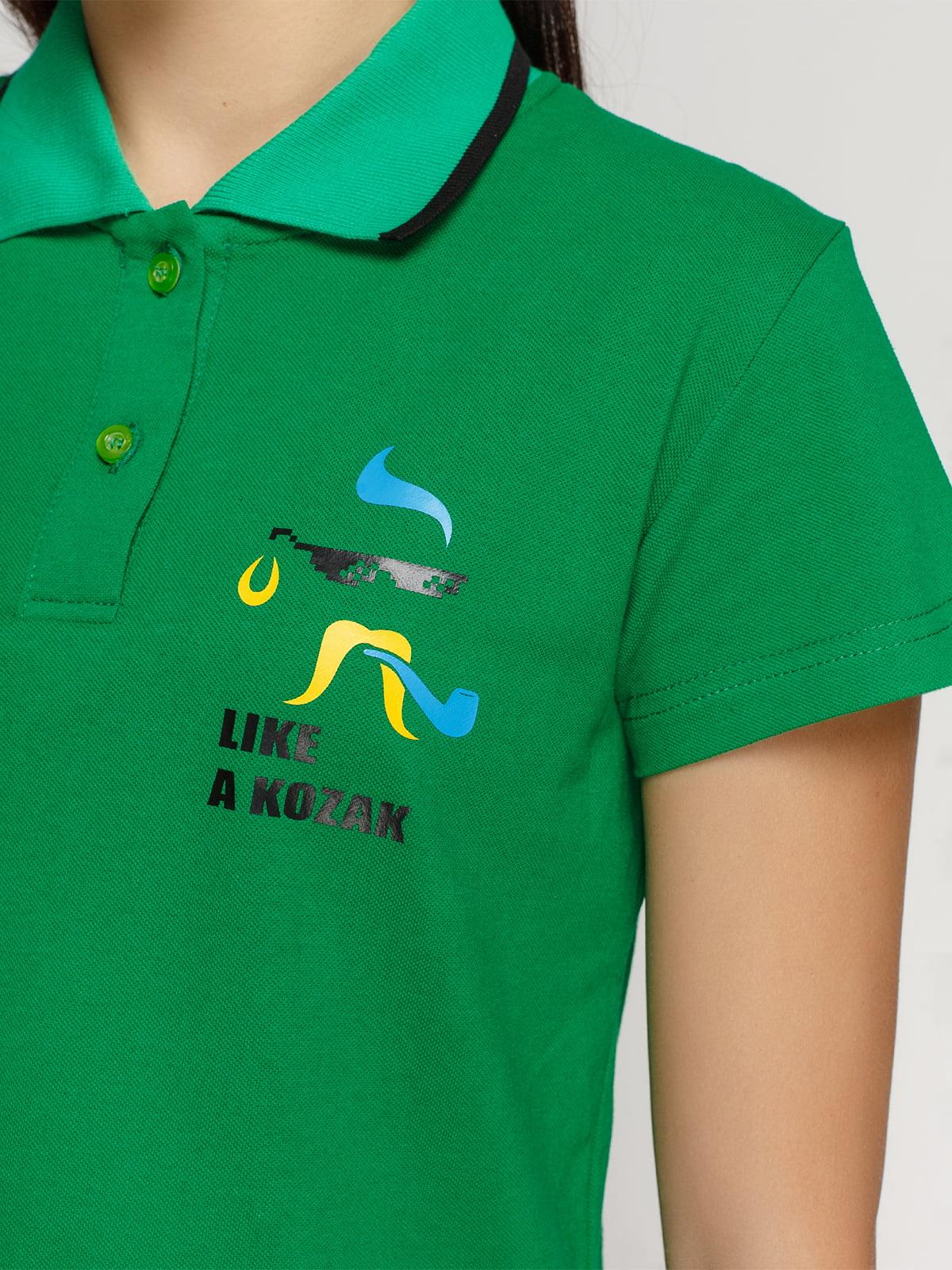 Футболка-поло зеленая с принтом | 4578483 | фото 3