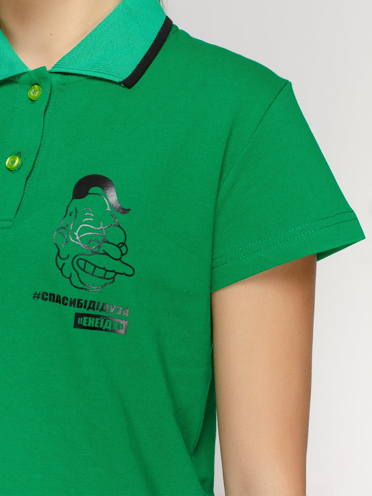Футболка-поло зеленая с принтом | 4578471 | фото 3