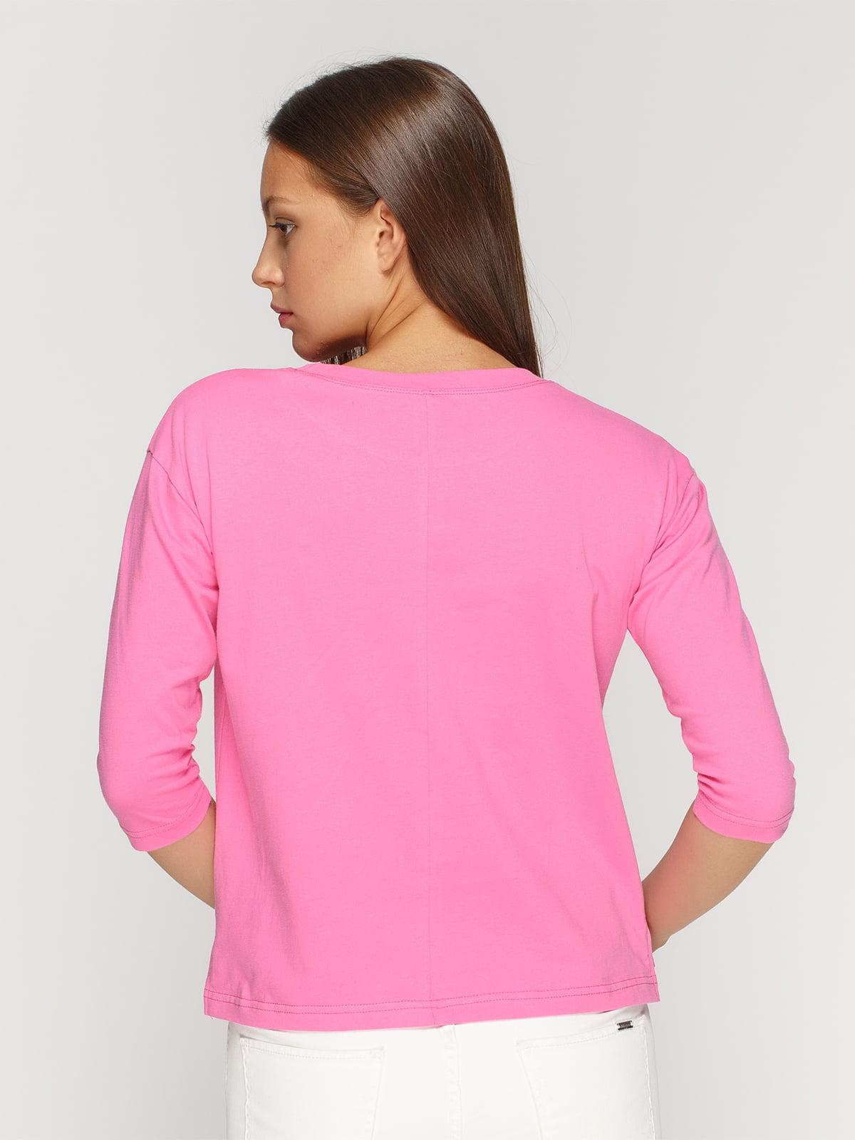 Лонгслив розовый с принтом   4578142   фото 2