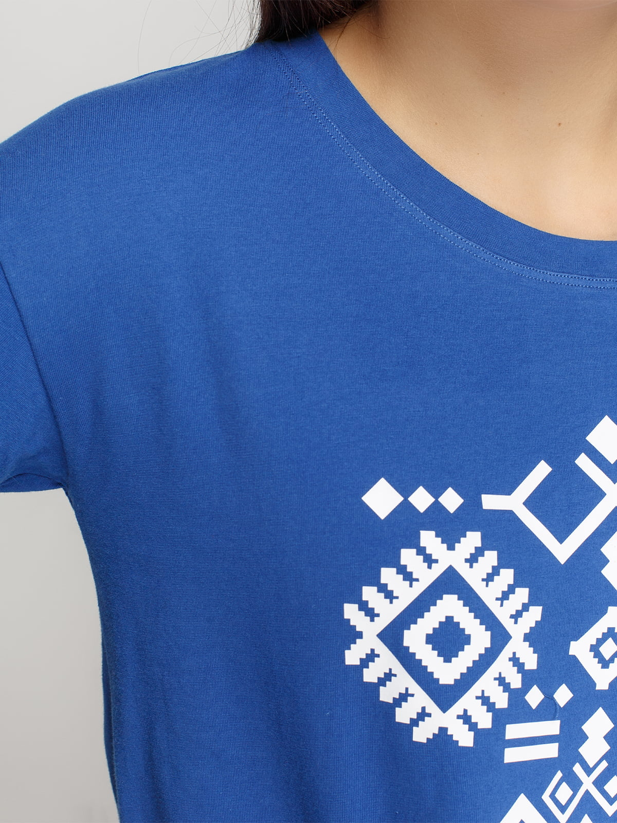 Лонгслів синій з принтом | 4578167 | фото 3