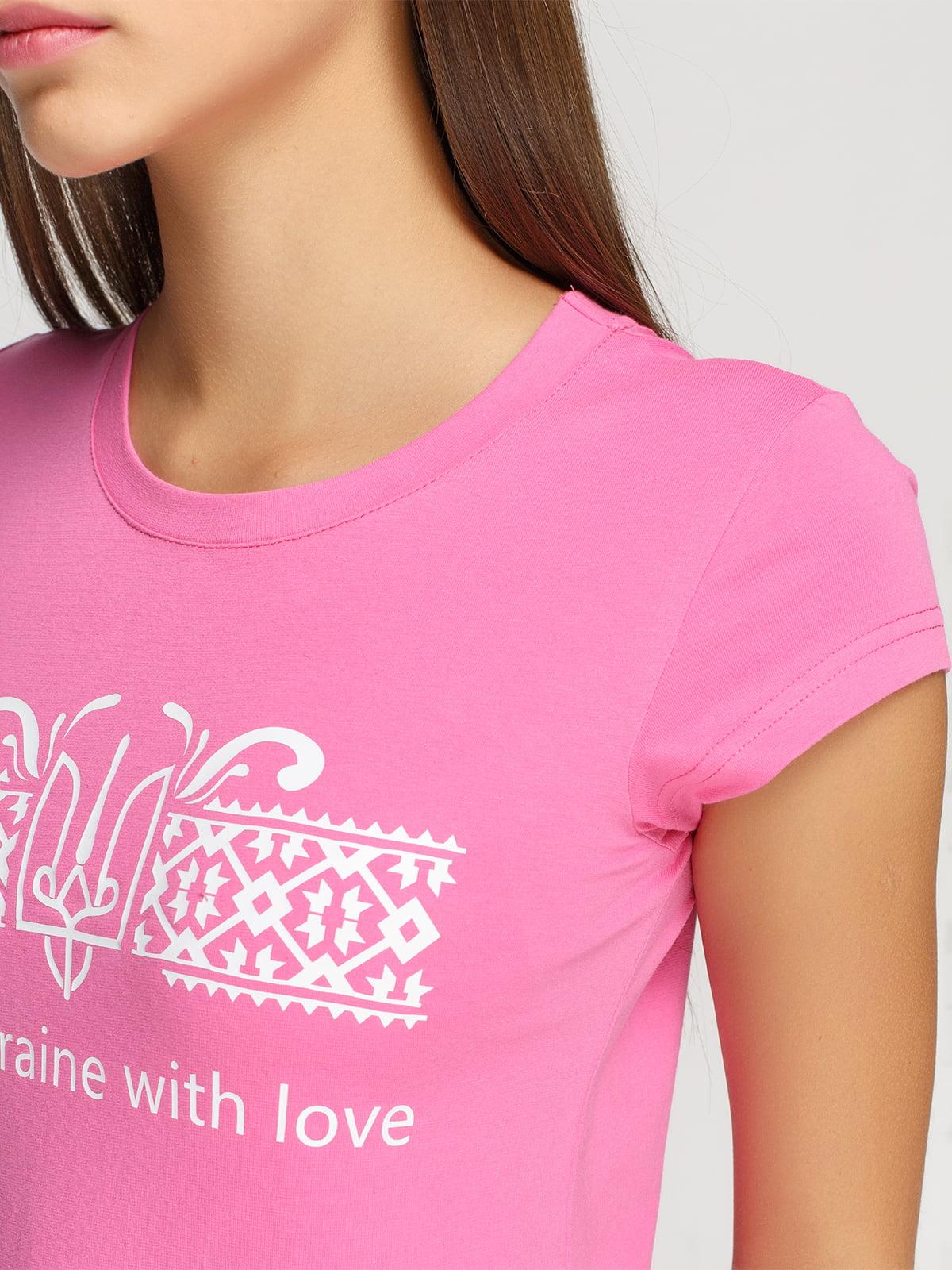 Футболка рожева з принтом | 4578076 | фото 3