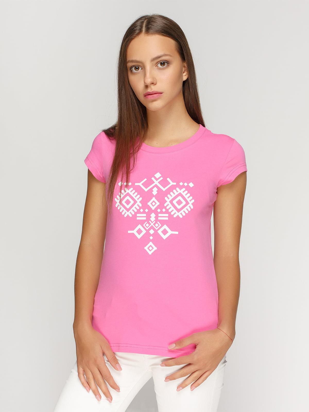 Футболка розовая с принтом | 4578073