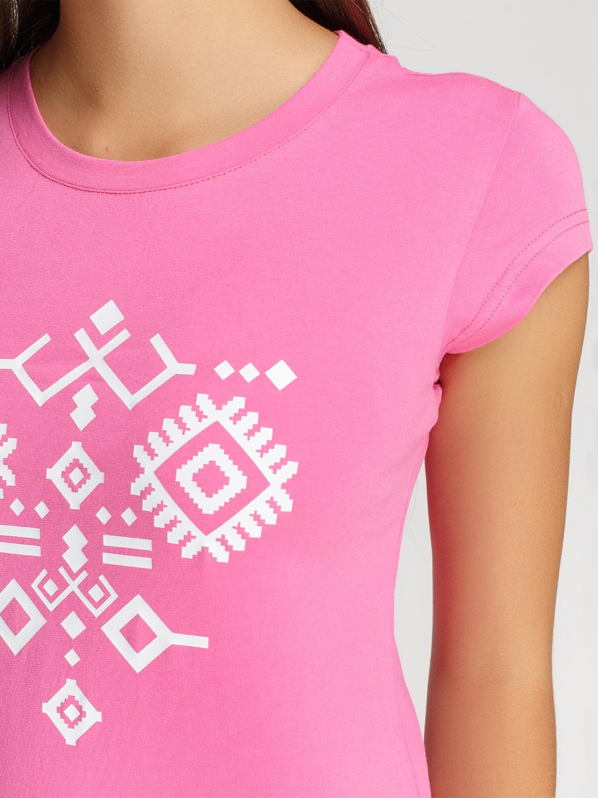 Футболка розовая с принтом | 4578073 | фото 3