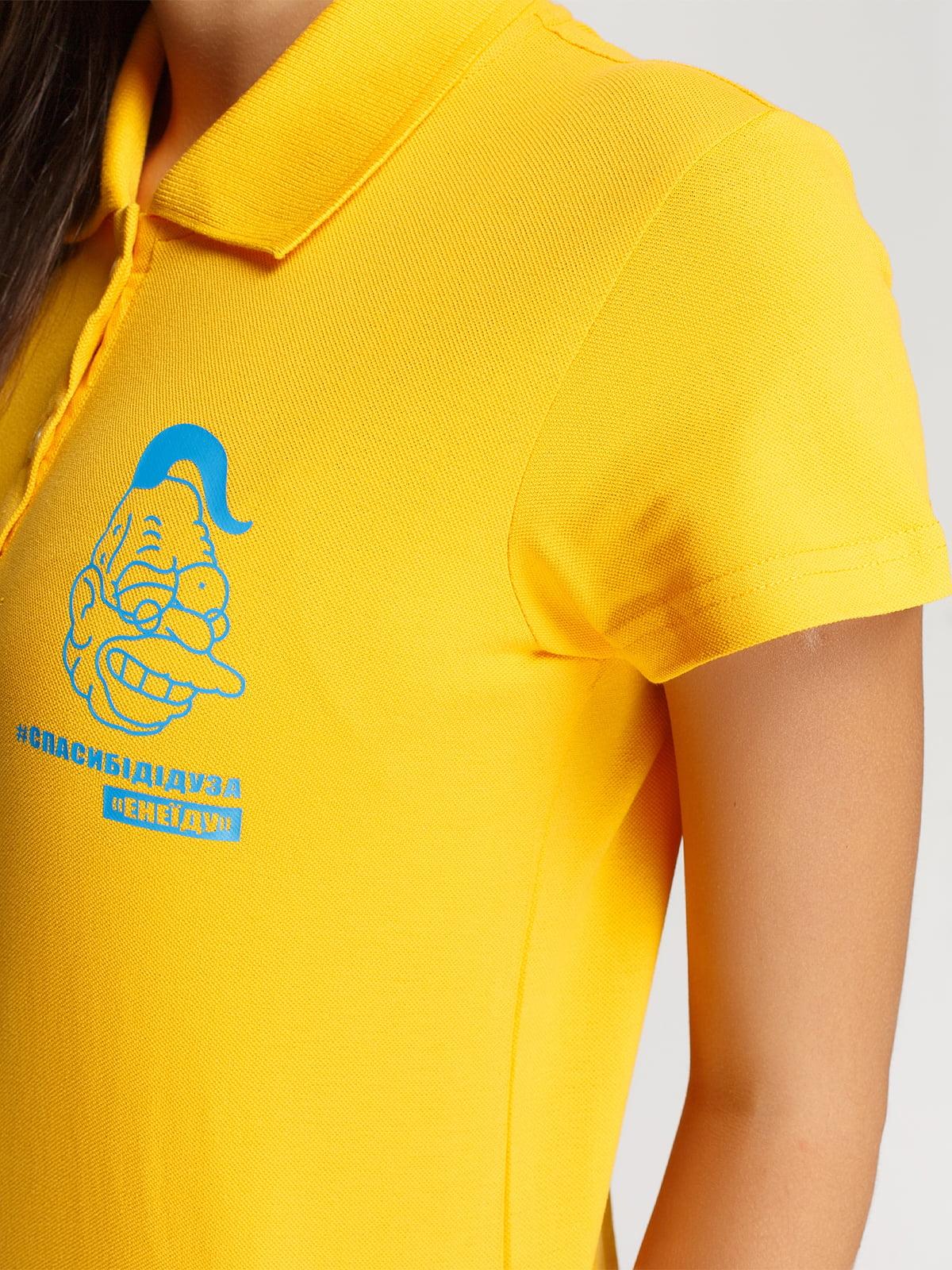 Футболка-поло жовта з принтом | 4578479 | фото 3