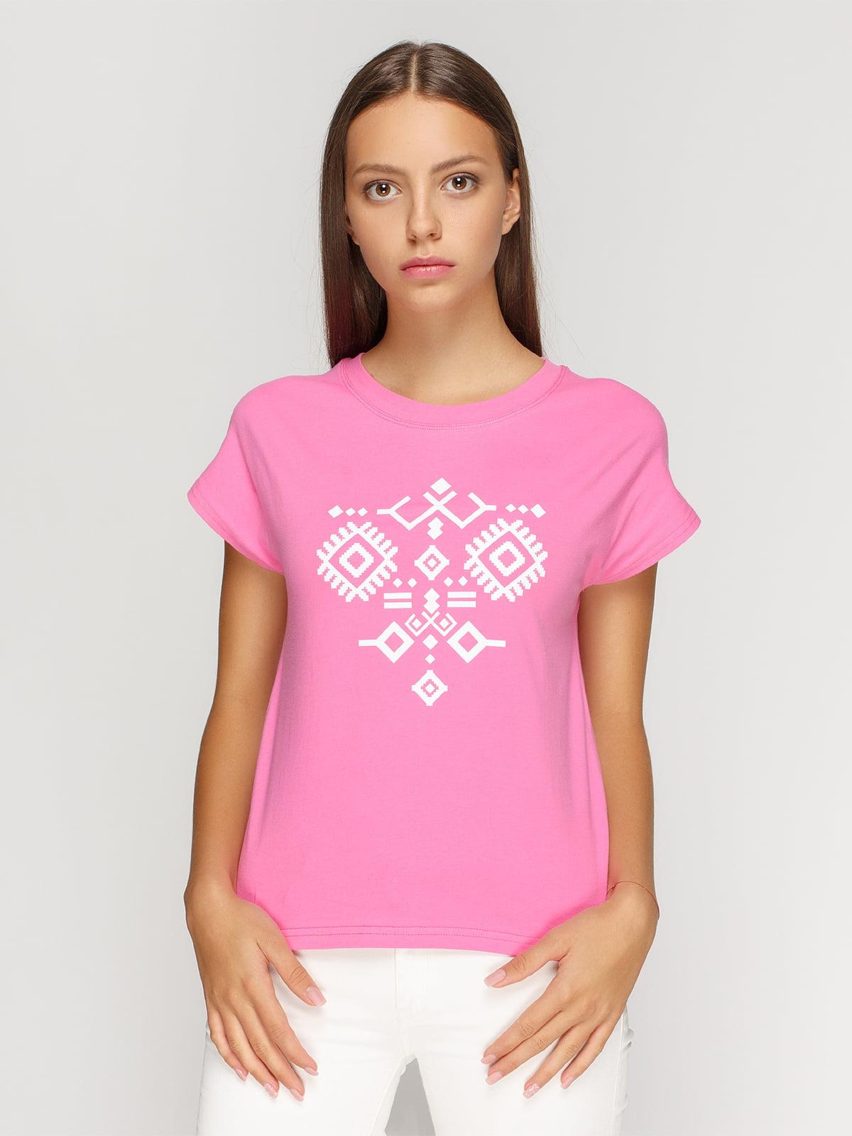 Футболка рожева з принтом | 4578123