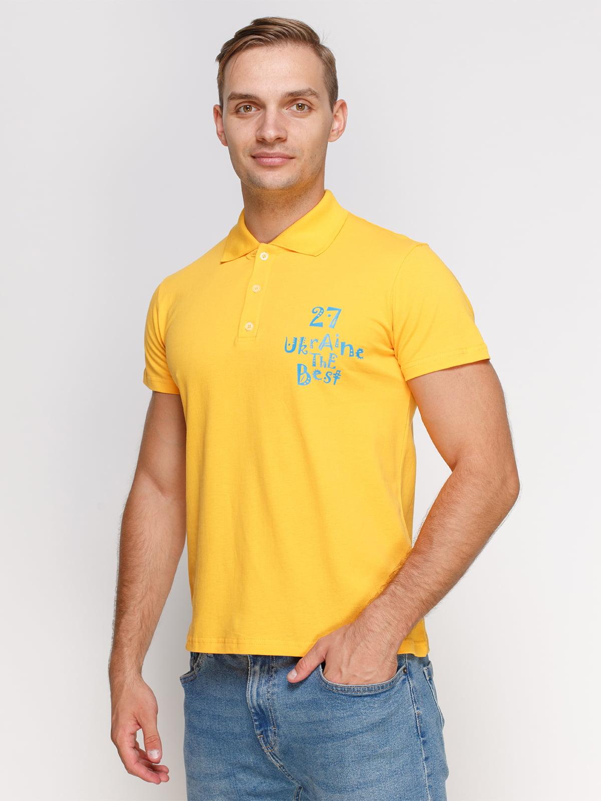 Футболка-поло желтая с принтом | 4578502