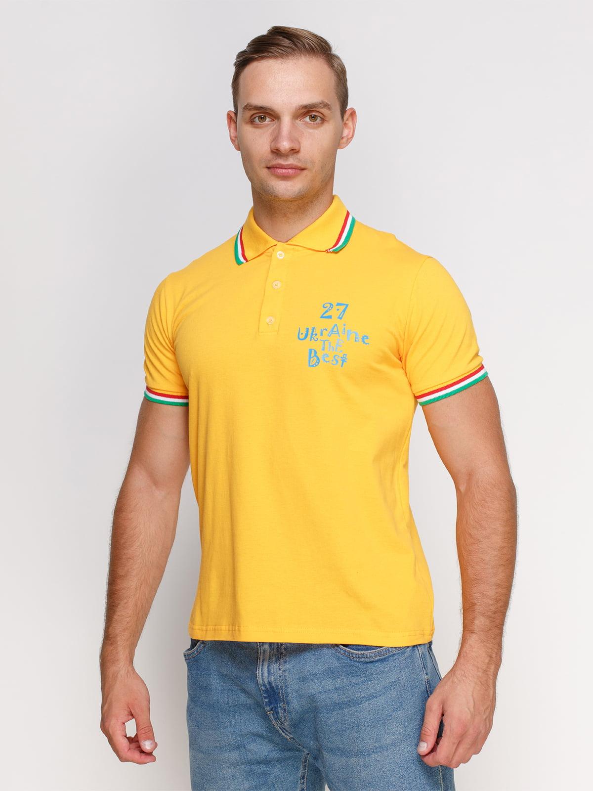 Футболка-поло желтая с принтом   4578477