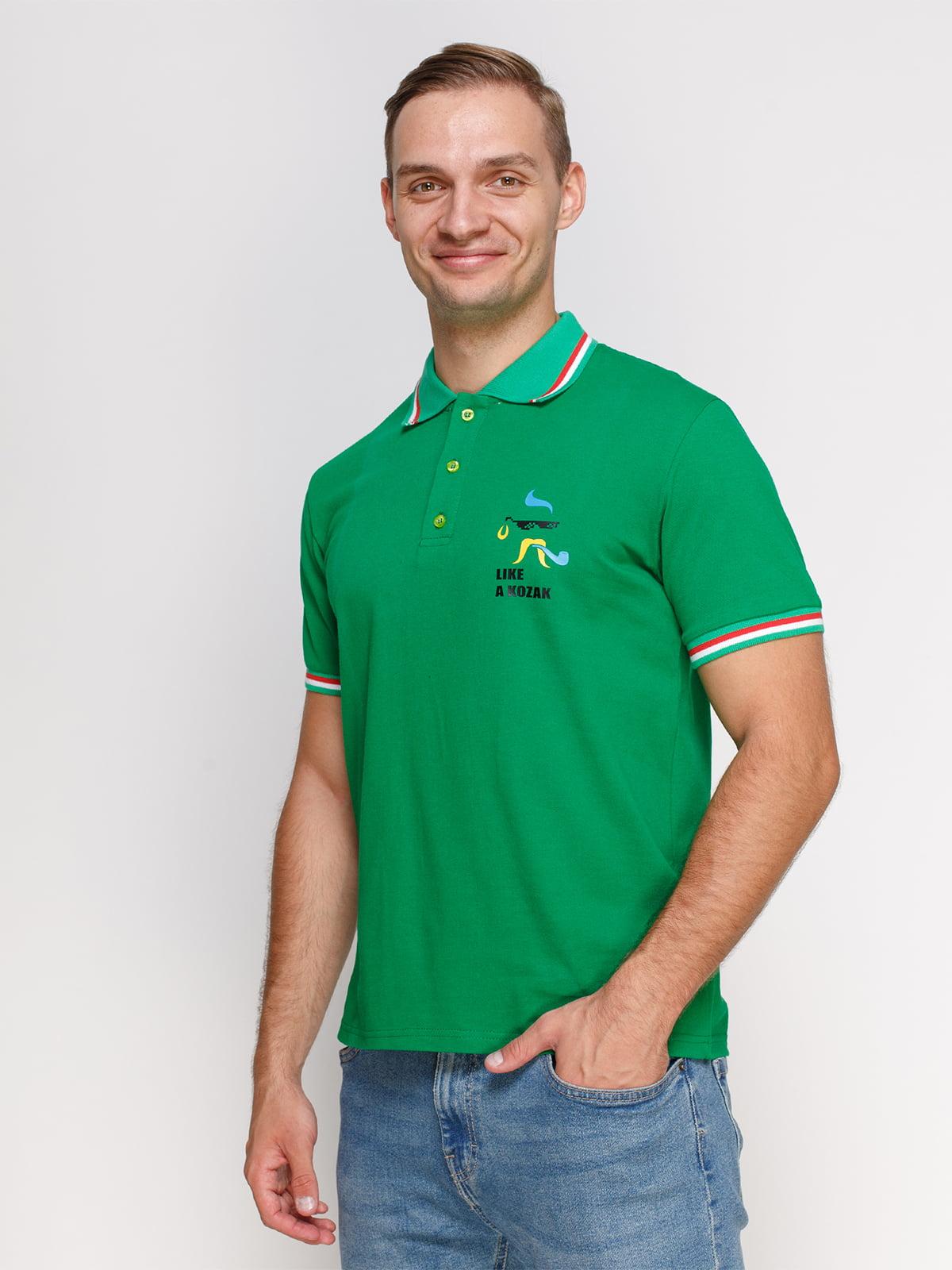 Футболка-поло зелена з принтом   4578474