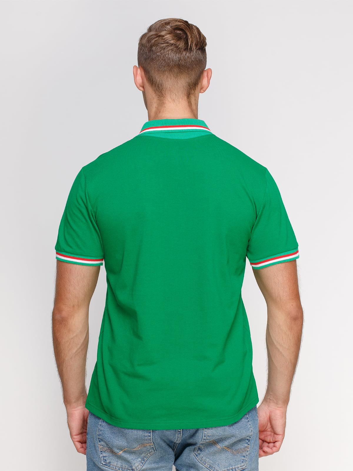 Футболка-поло зелена з принтом   4578474   фото 2