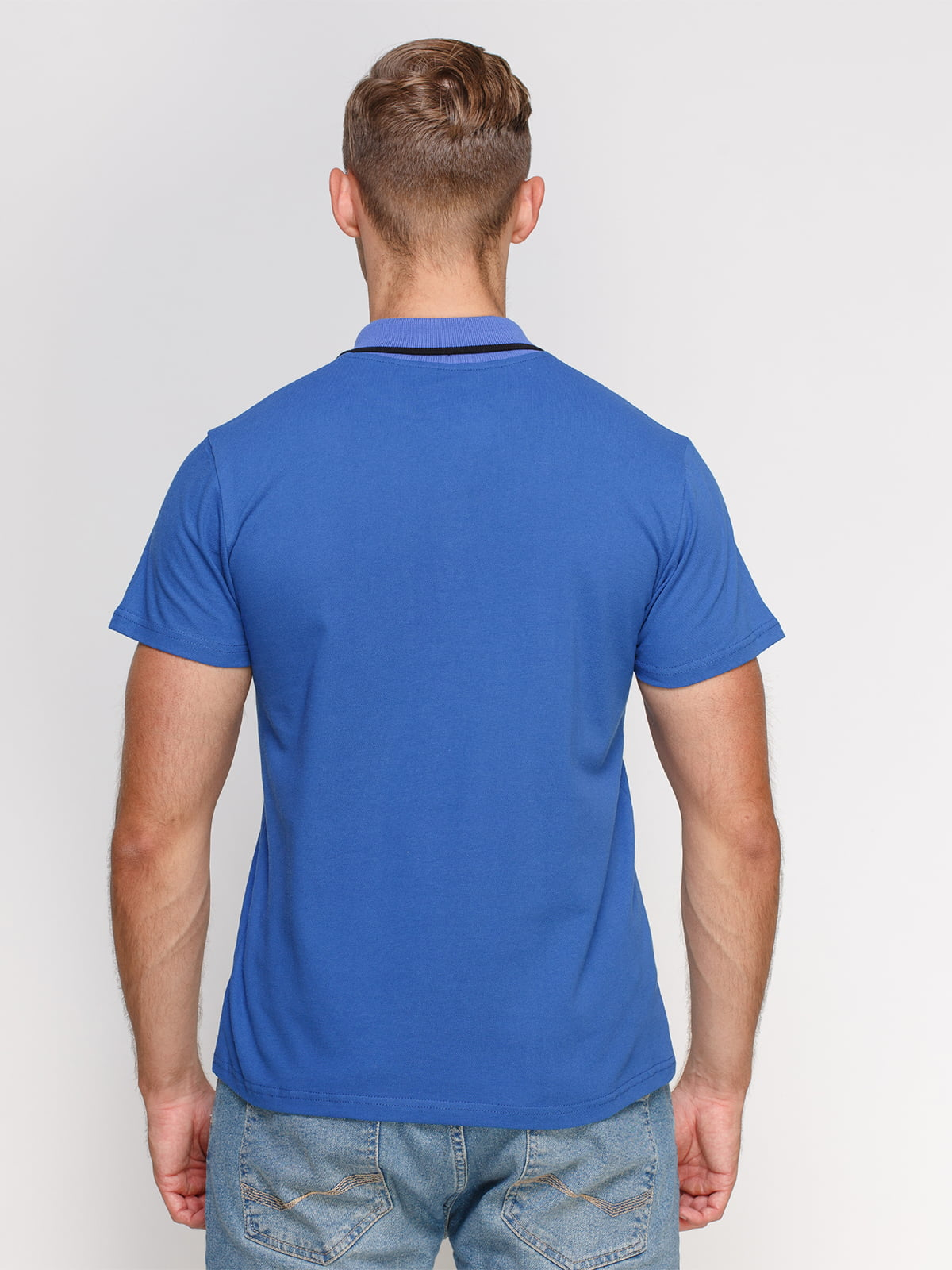 Футболка-поло синя з принтом | 4578505 | фото 2