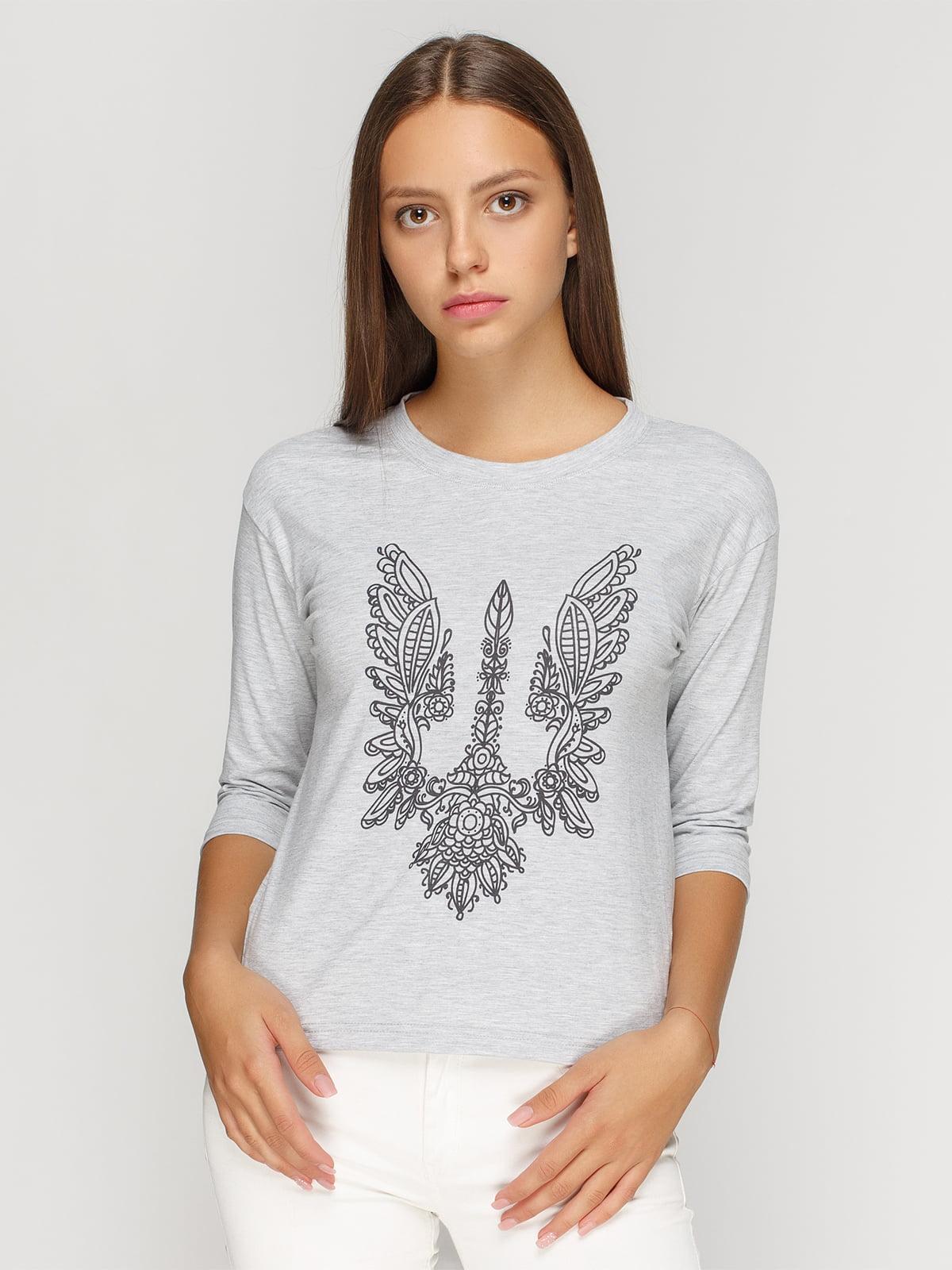Лонгслив серый меланжевый с принтом | 4578060