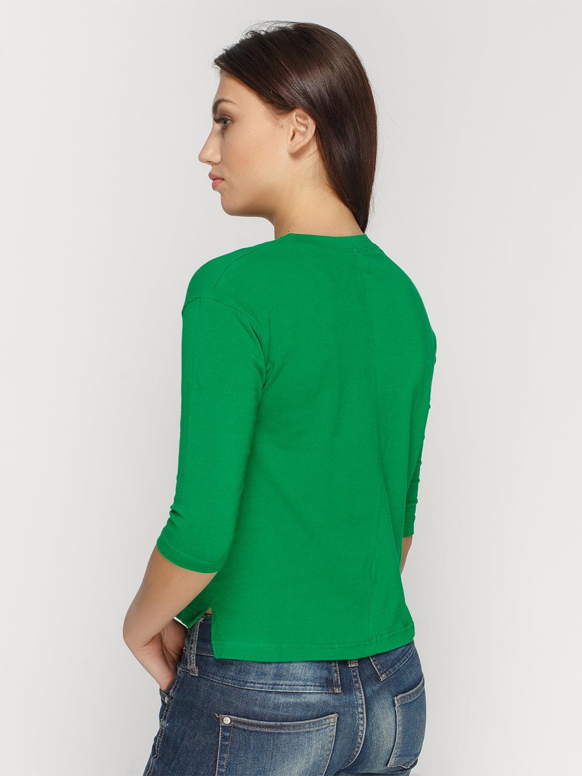 Лонгслив зеленый с принтом | 4578155 | фото 2