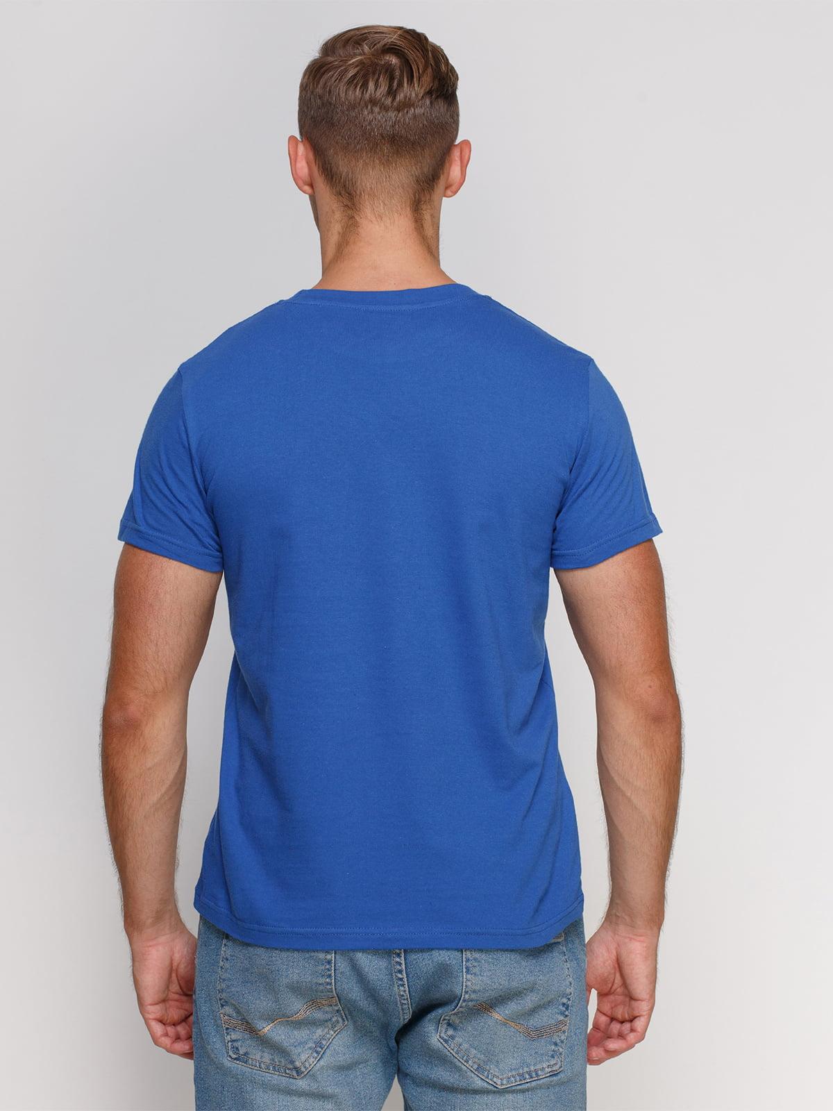 Футболка синя з принтом | 4578525 | фото 2