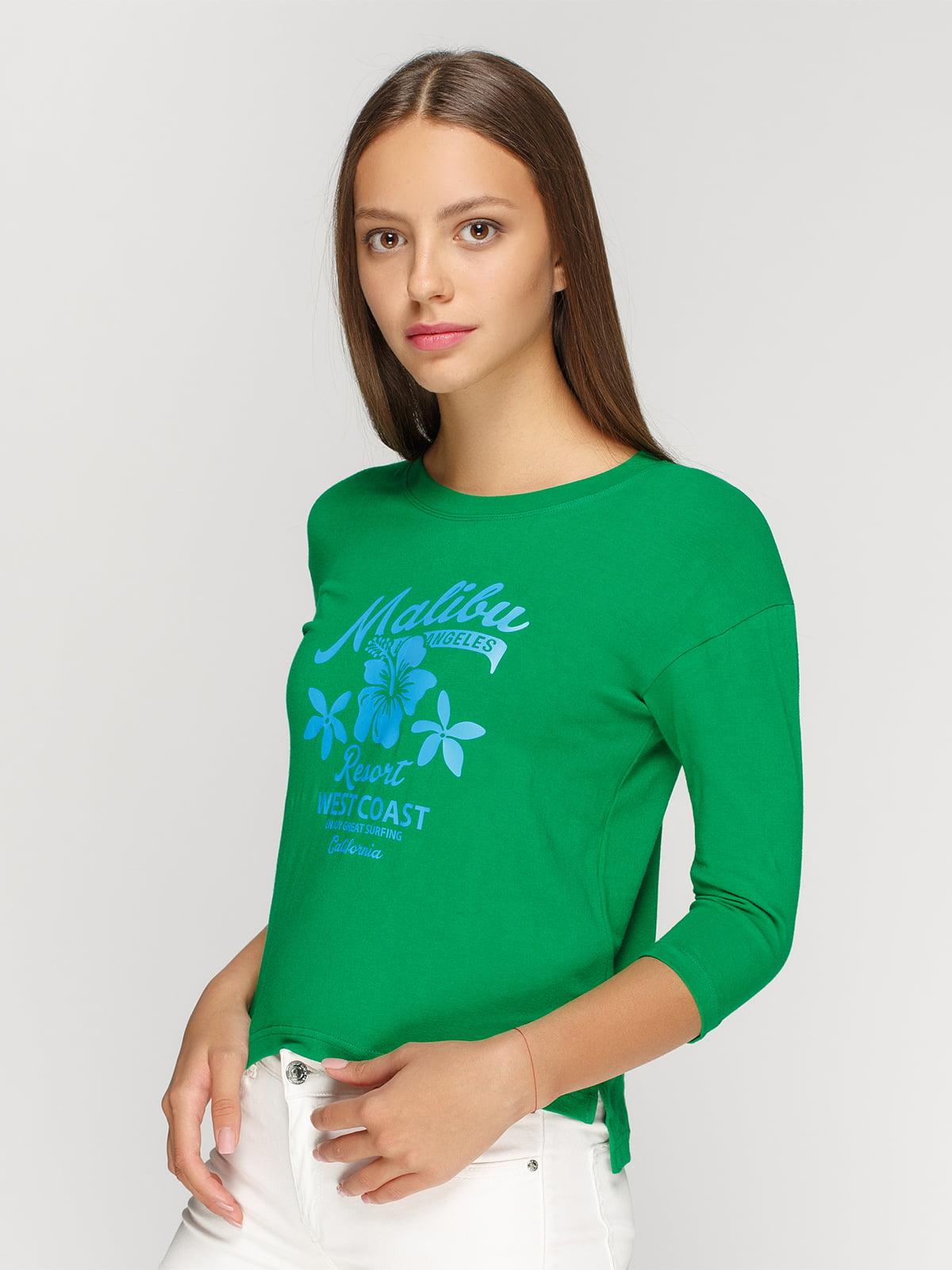 Лонгслів зелений з принтом | 4578159