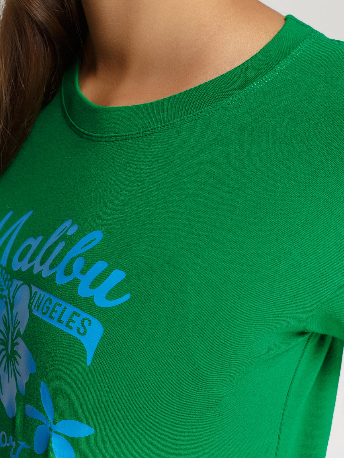 Лонгслів зелений з принтом | 4578159 | фото 3