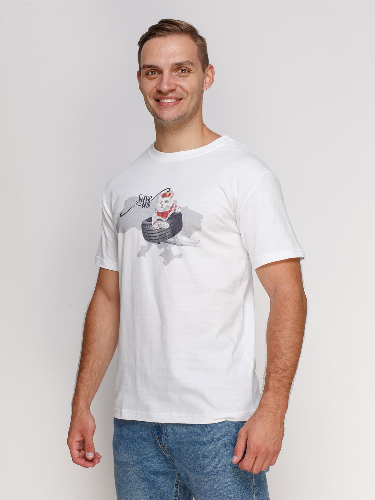 Футболка белая с принтом | 4577846