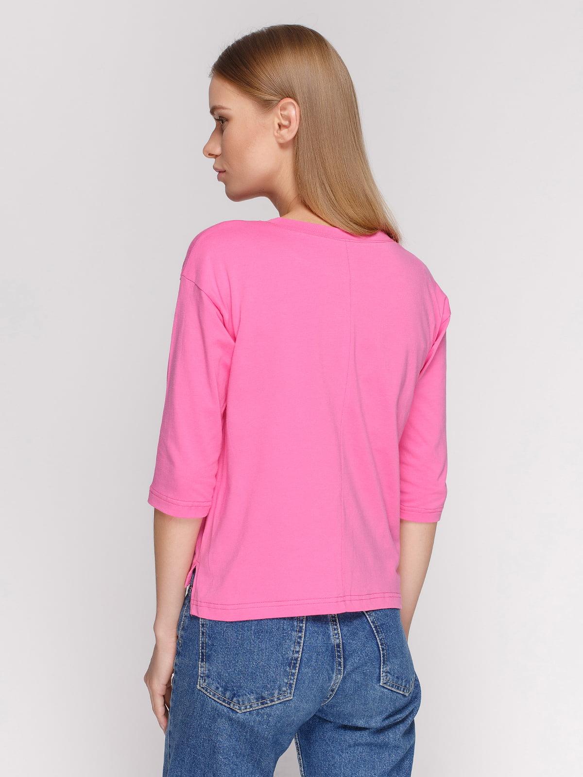 Лонгслів рожевий з принтом | 4578150 | фото 2