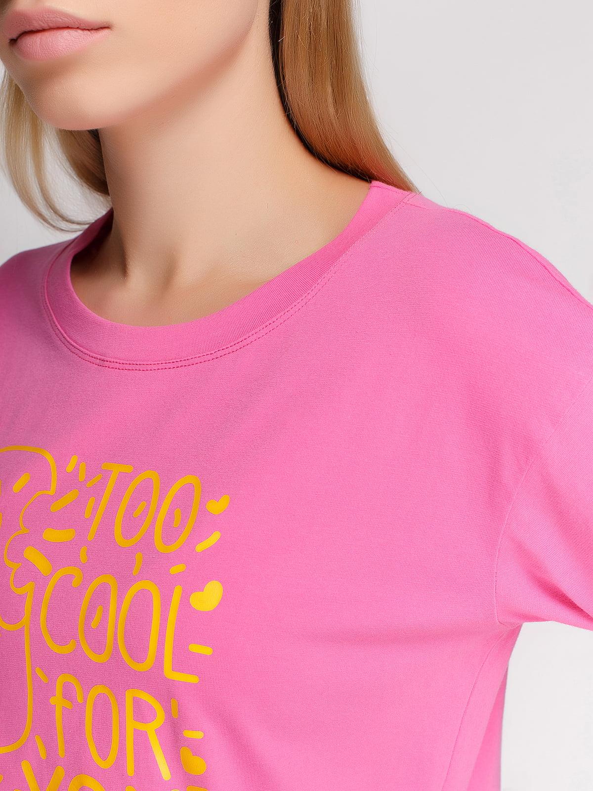 Лонгслів рожевий з принтом | 4578150 | фото 3