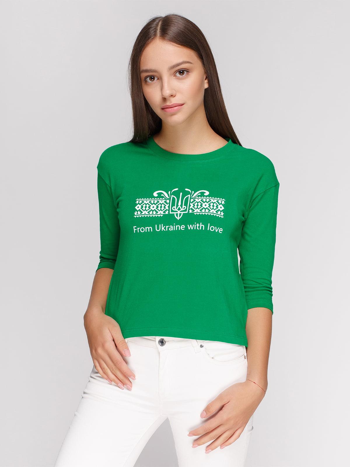 Лонгслив зеленый с принтом | 4578154