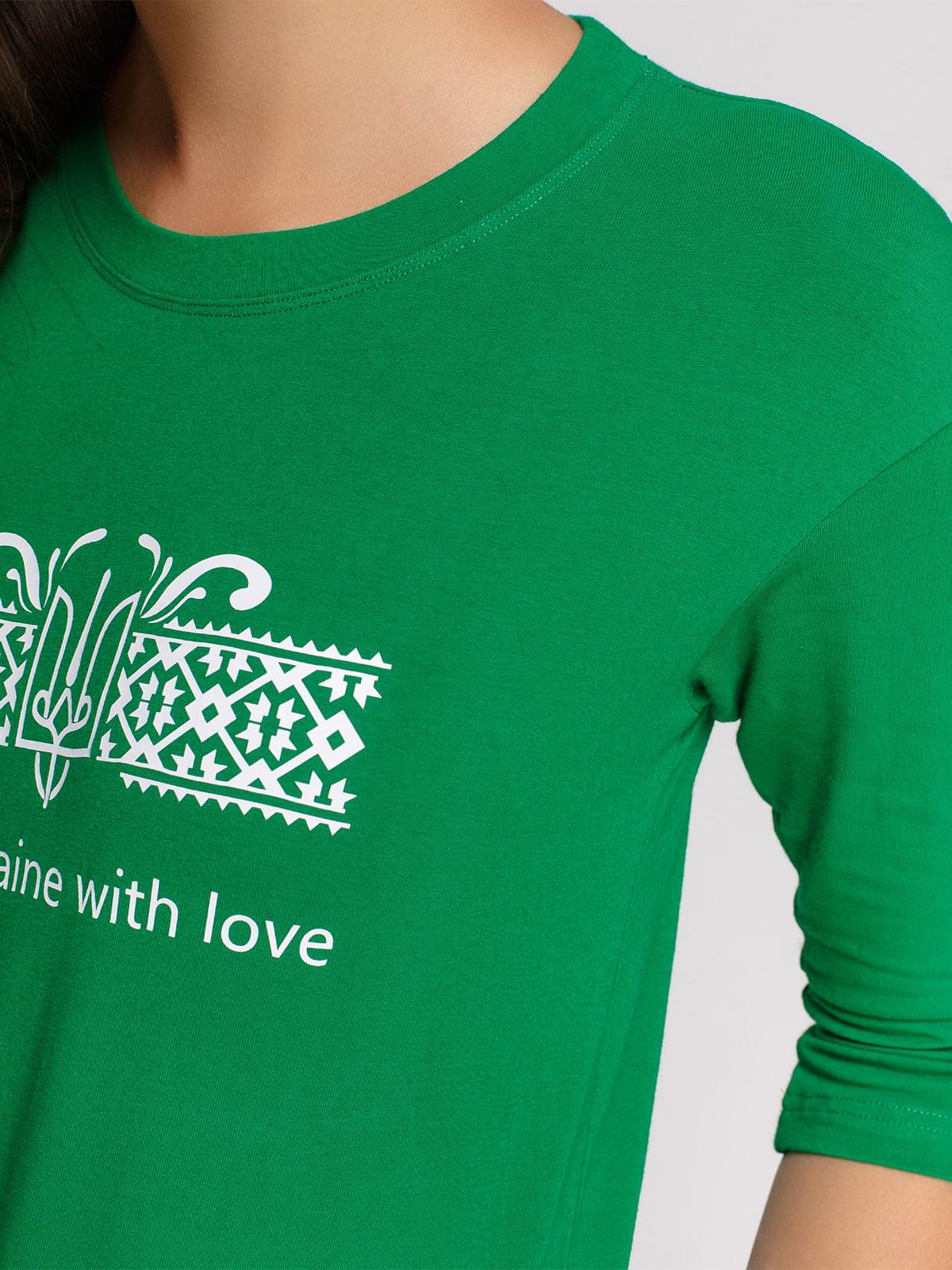 Лонгслив зеленый с принтом | 4578154 | фото 3