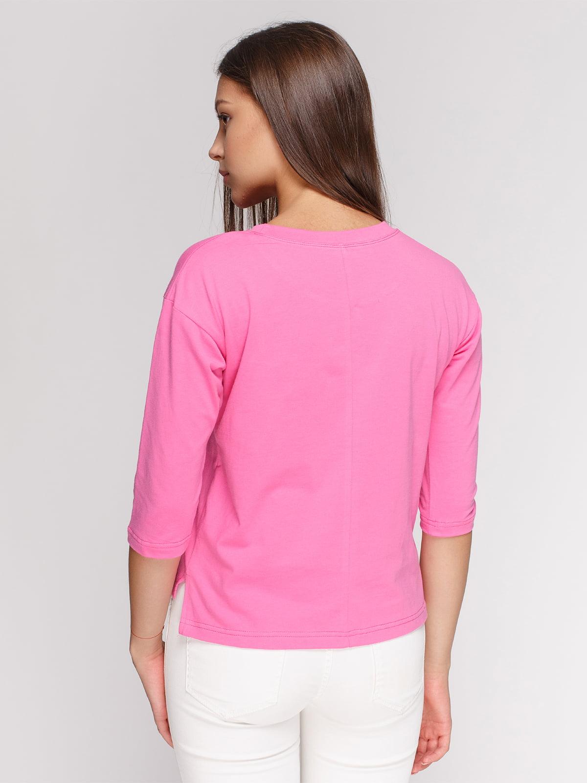 Лонгслив розовый с принтом | 4578145 | фото 2