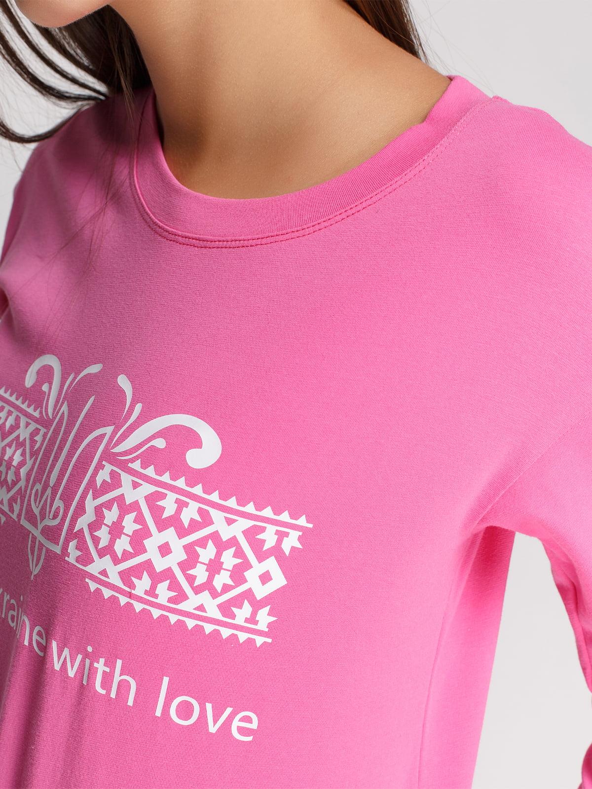 Лонгслив розовый с принтом | 4578145 | фото 3