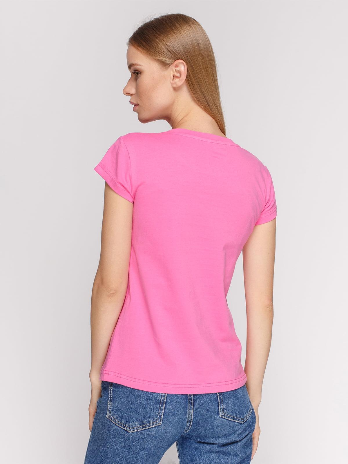 Футболка рожева з принтом | 4578078 | фото 2