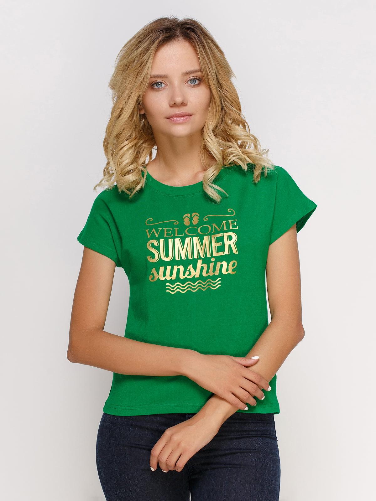 Футболка зеленая с принтом | 4578266