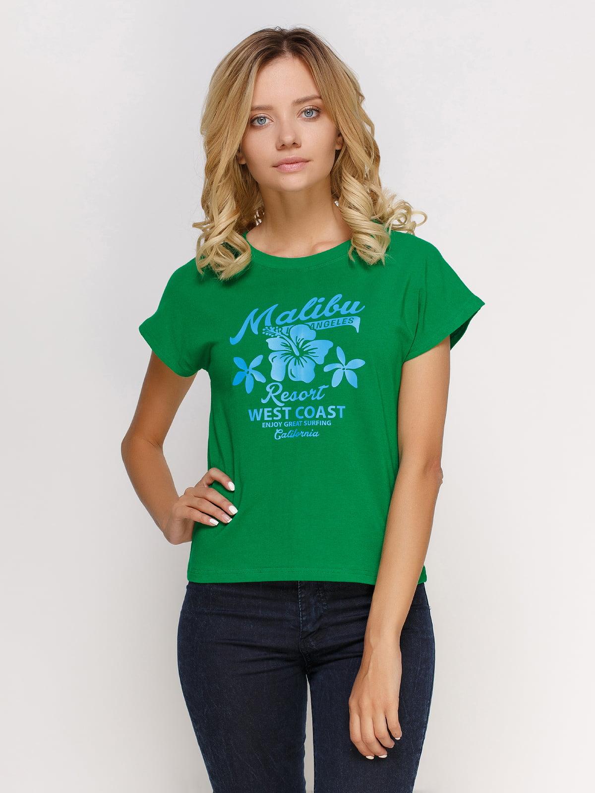 Футболка зелена з принтом | 4578267