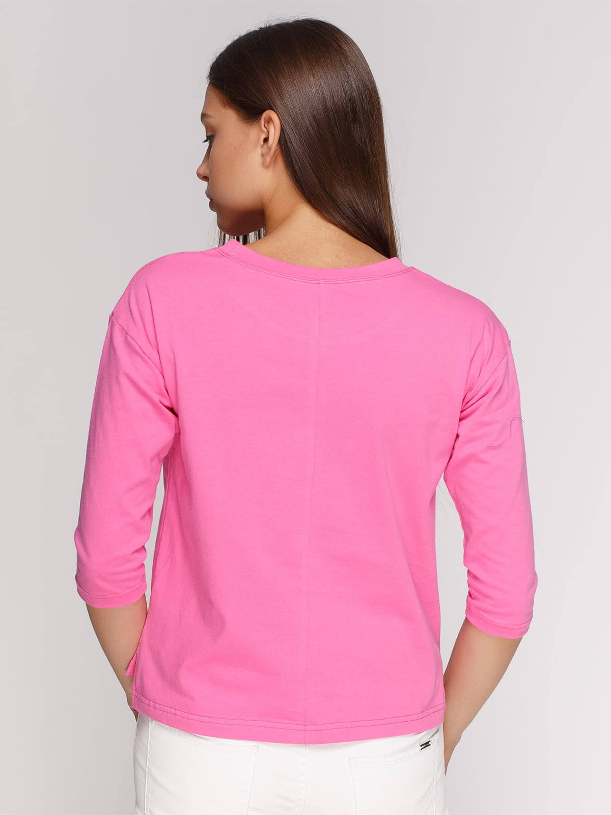 Лонгслив розовый с принтом | 4578144 | фото 2