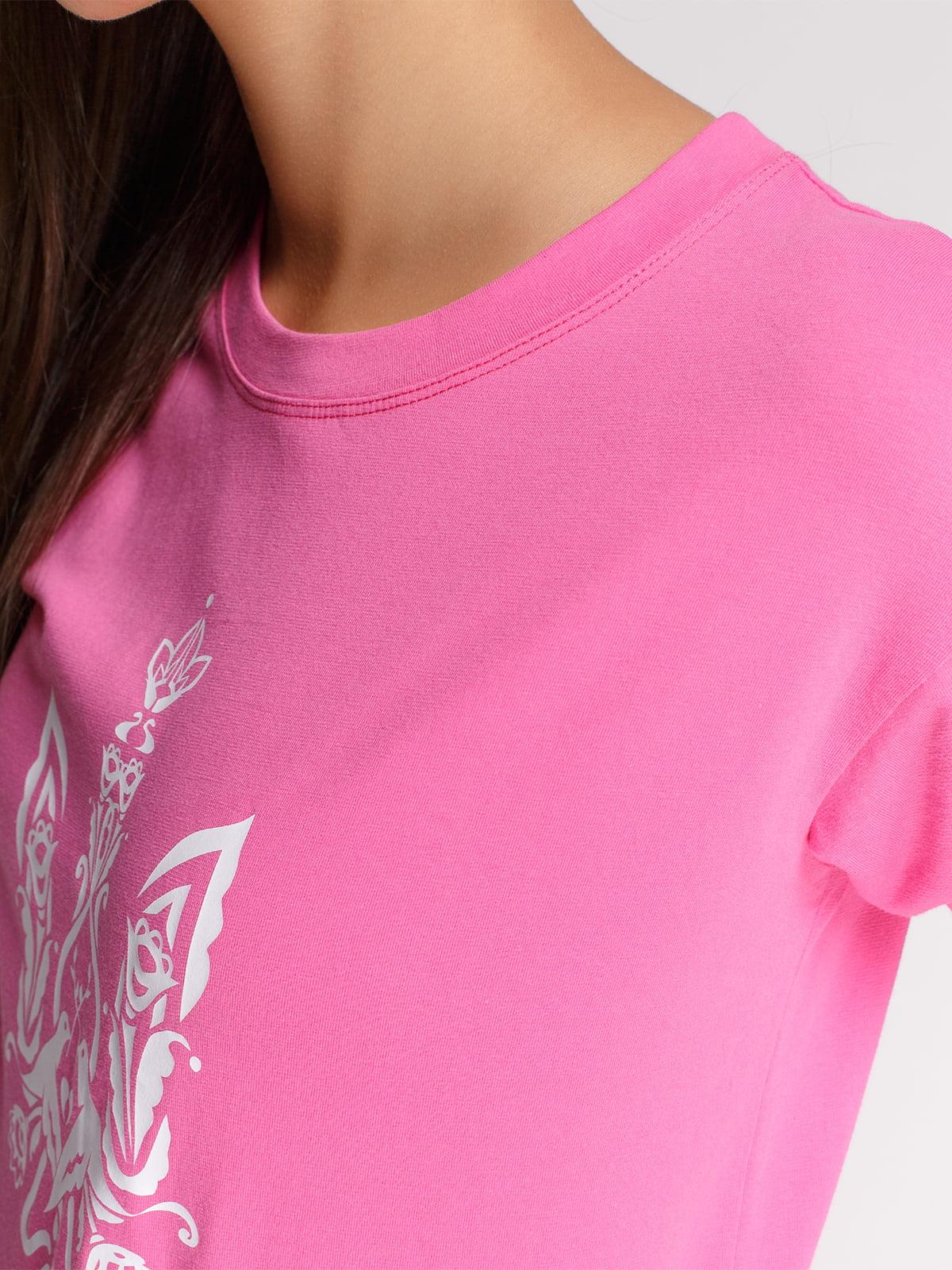 Лонгслив розовый с принтом | 4578144 | фото 3