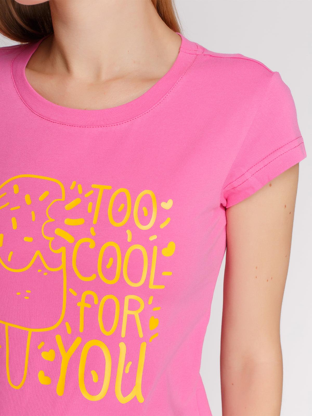 Футболка розовая с принтом | 4578080 | фото 3