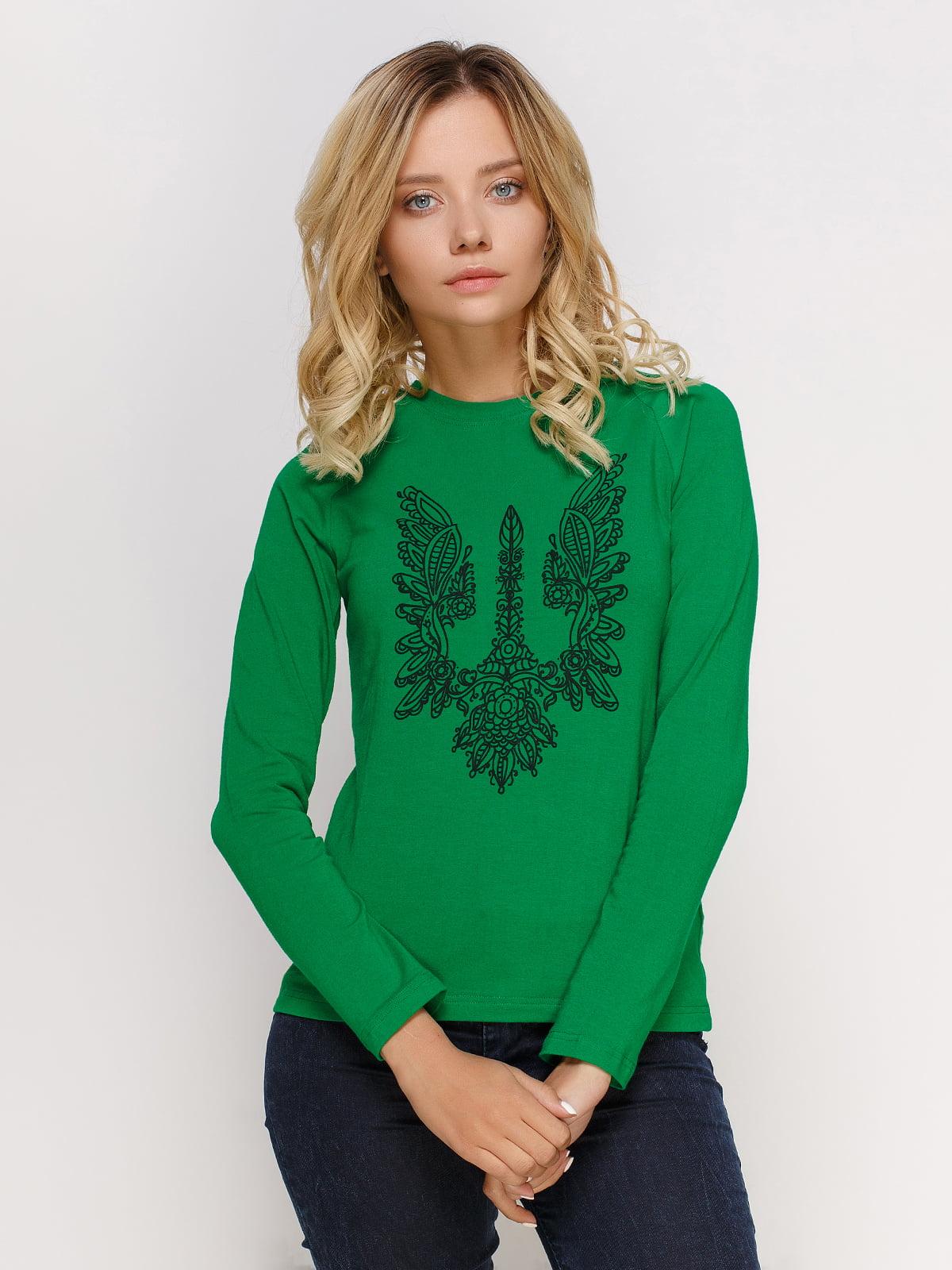 Лонгслів зелений з принтом | 4577872