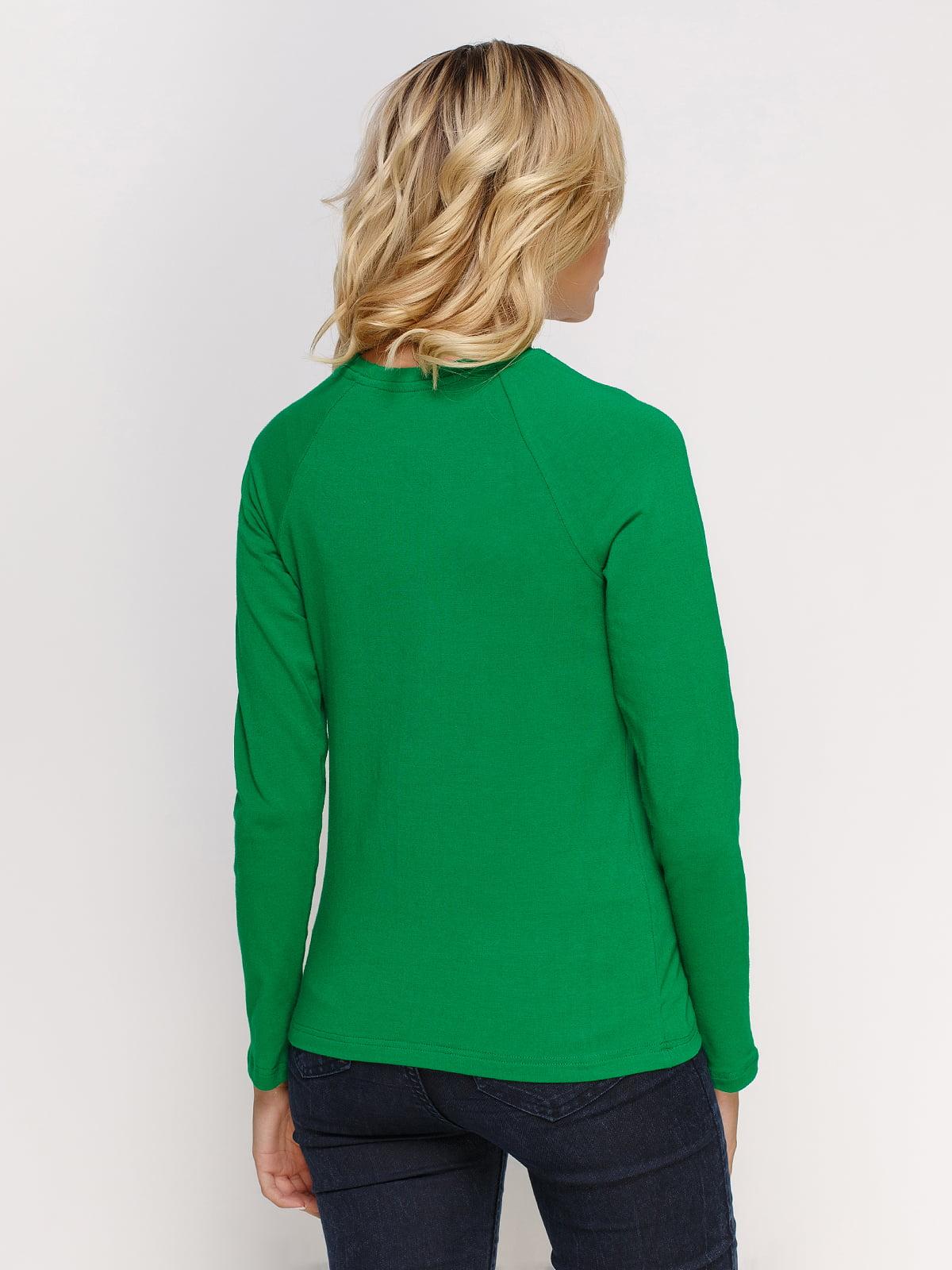 Лонгслів зелений з принтом | 4577872 | фото 2