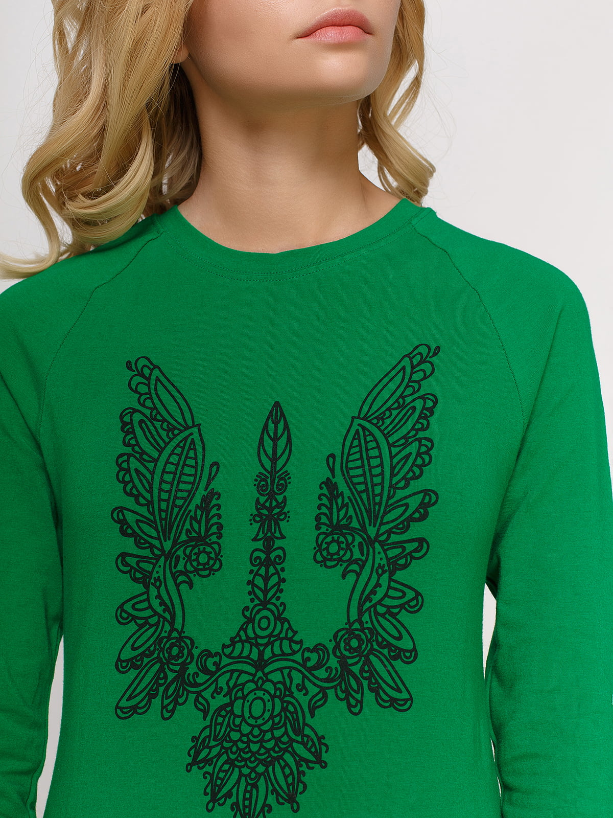Лонгслів зелений з принтом | 4577872 | фото 3