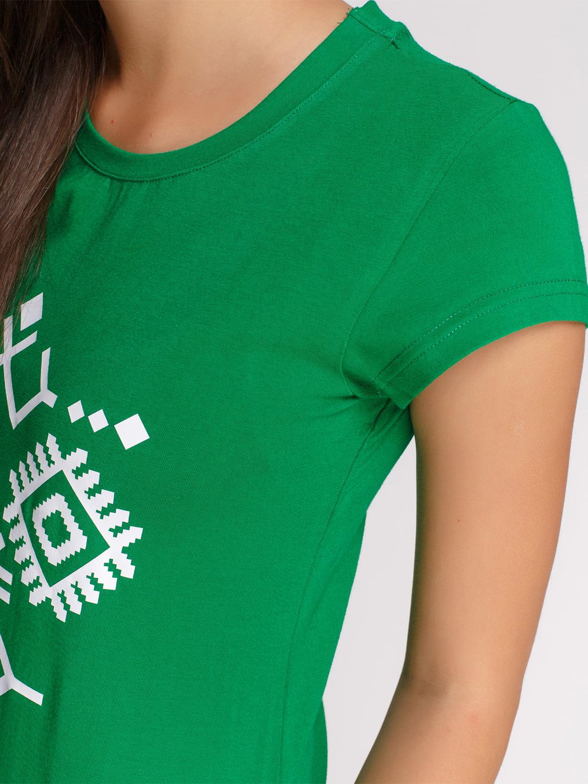 Футболка зеленая с принтом | 4578109 | фото 3