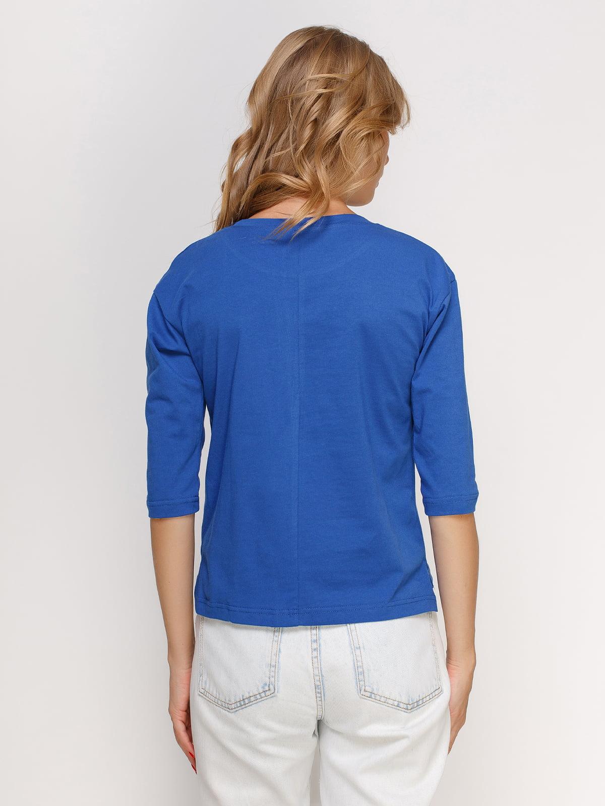 Лонгслив синий с принтом | 4578169 | фото 2