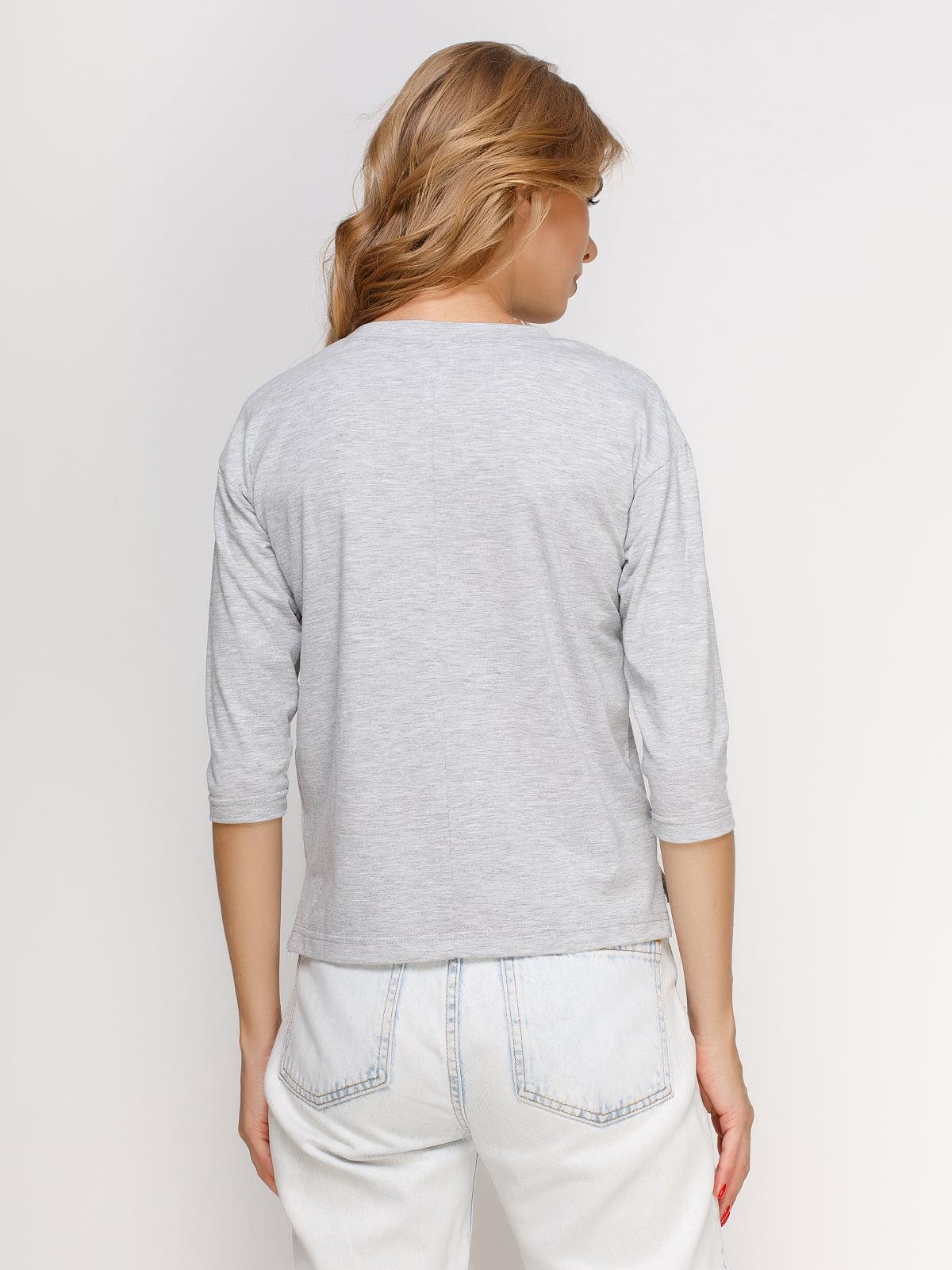 Лонгслів сірий меланжевий з принтом | 4578065 | фото 2