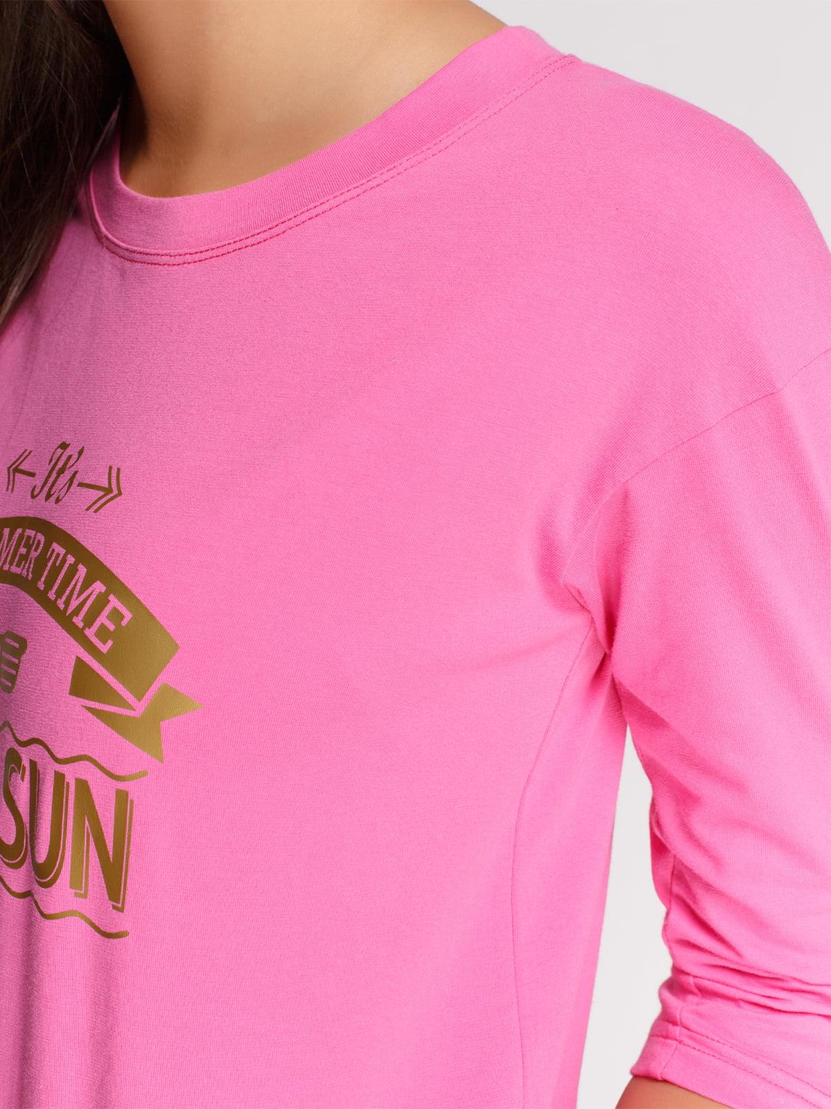 Лонгслів рожевий з принтом | 4578146 | фото 3