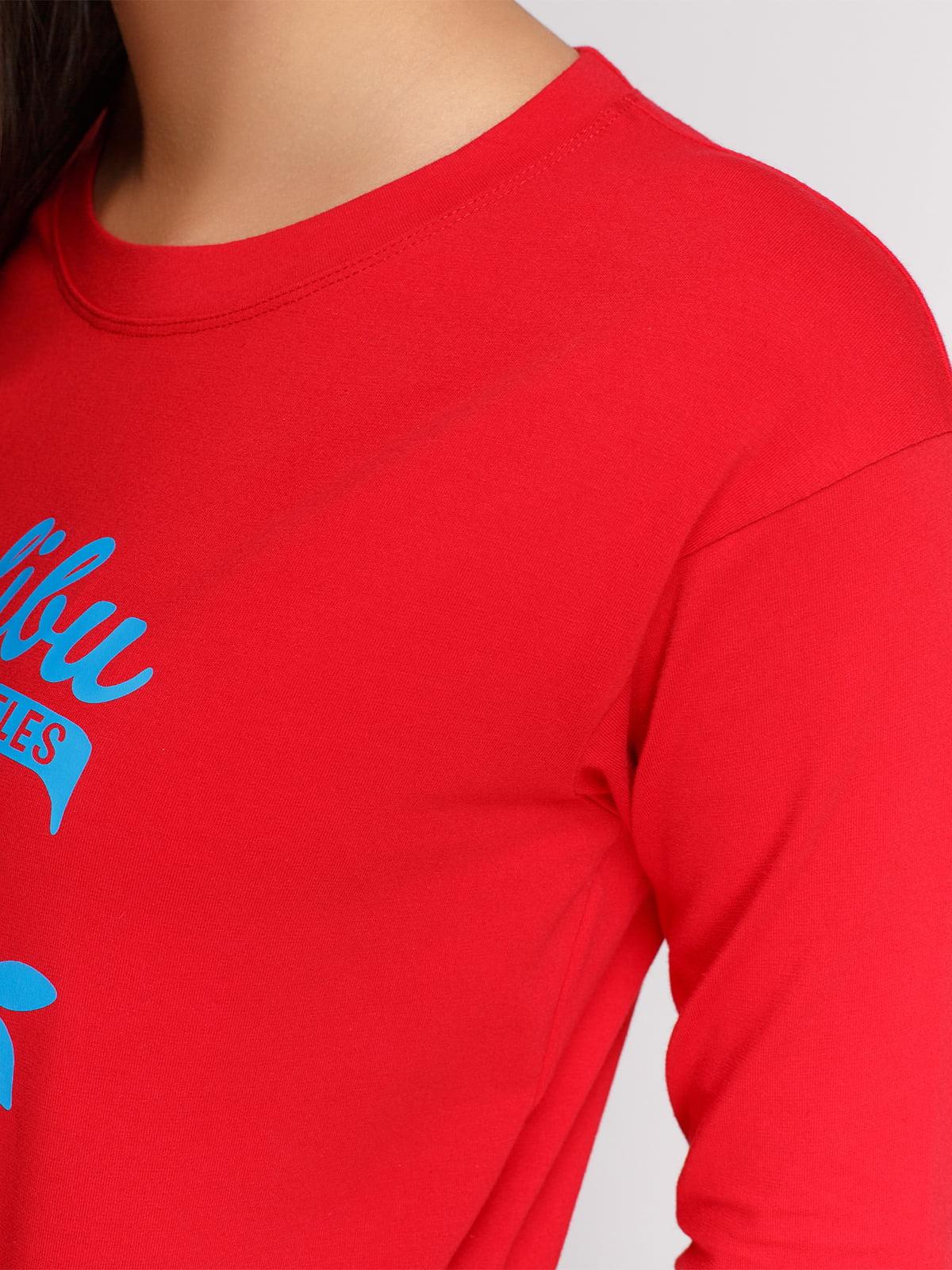 Лонгслив красный с принтом | 4578185 | фото 3