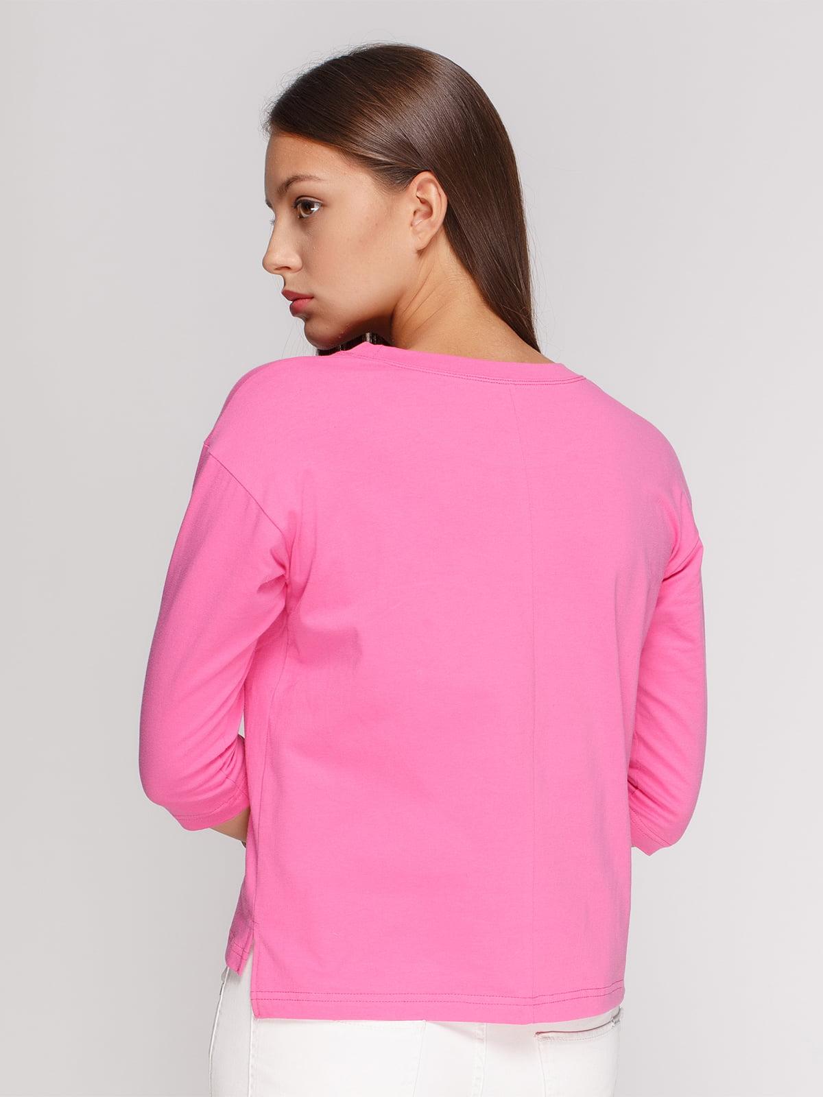Лонгслів рожевий з принтом | 4578149 | фото 2