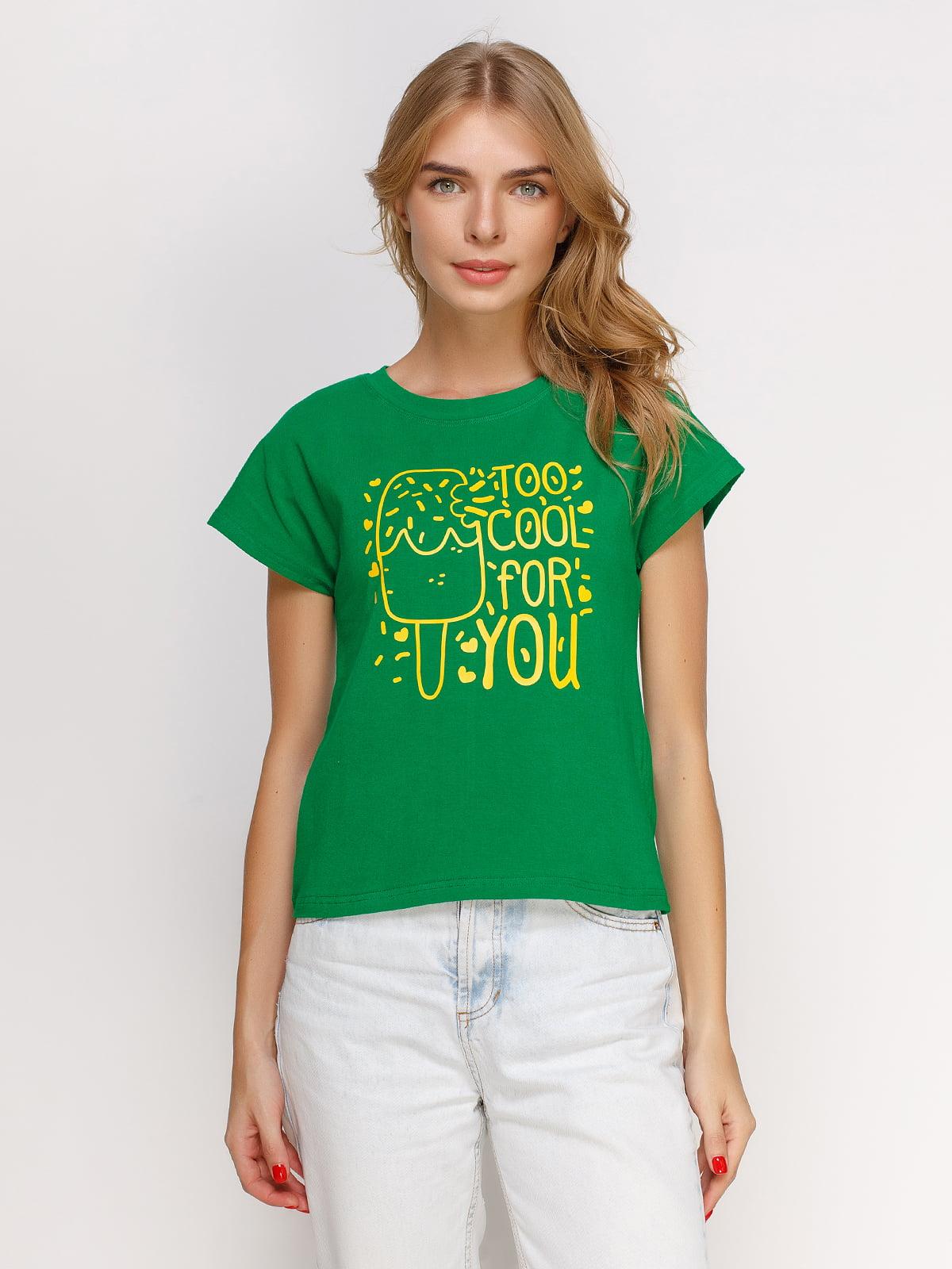Футболка зеленая с принтом | 4578132