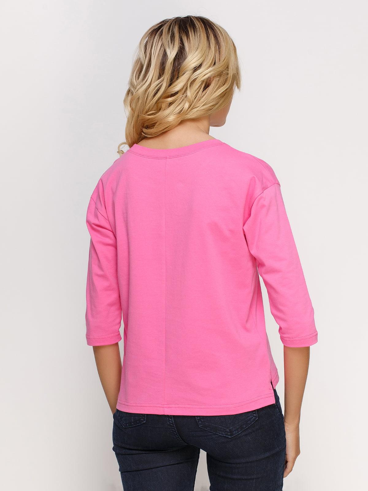 Лонгслив розовый с принтом | 4578148 | фото 2