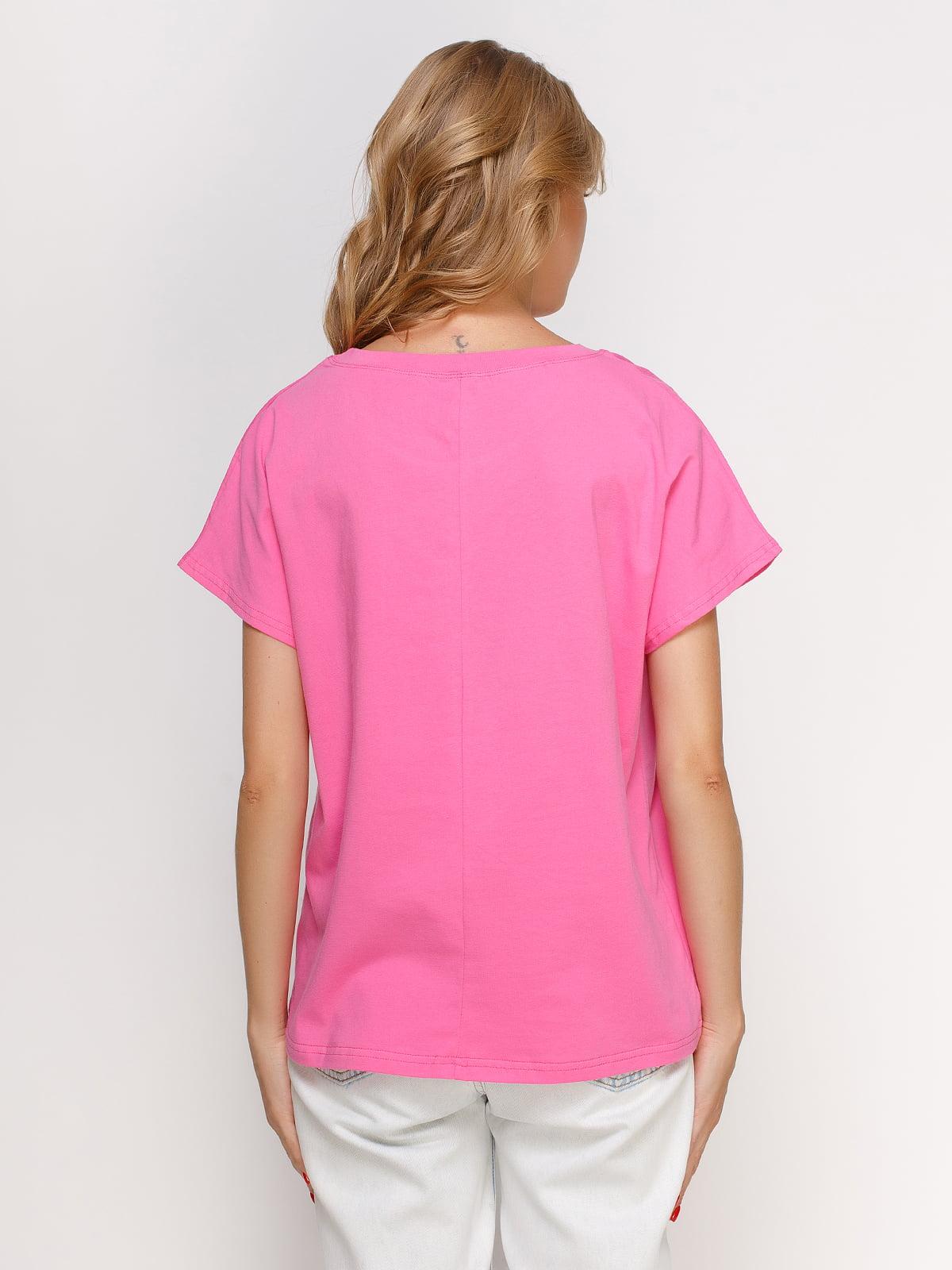 Футболка рожева з принтом | 4578217 | фото 2