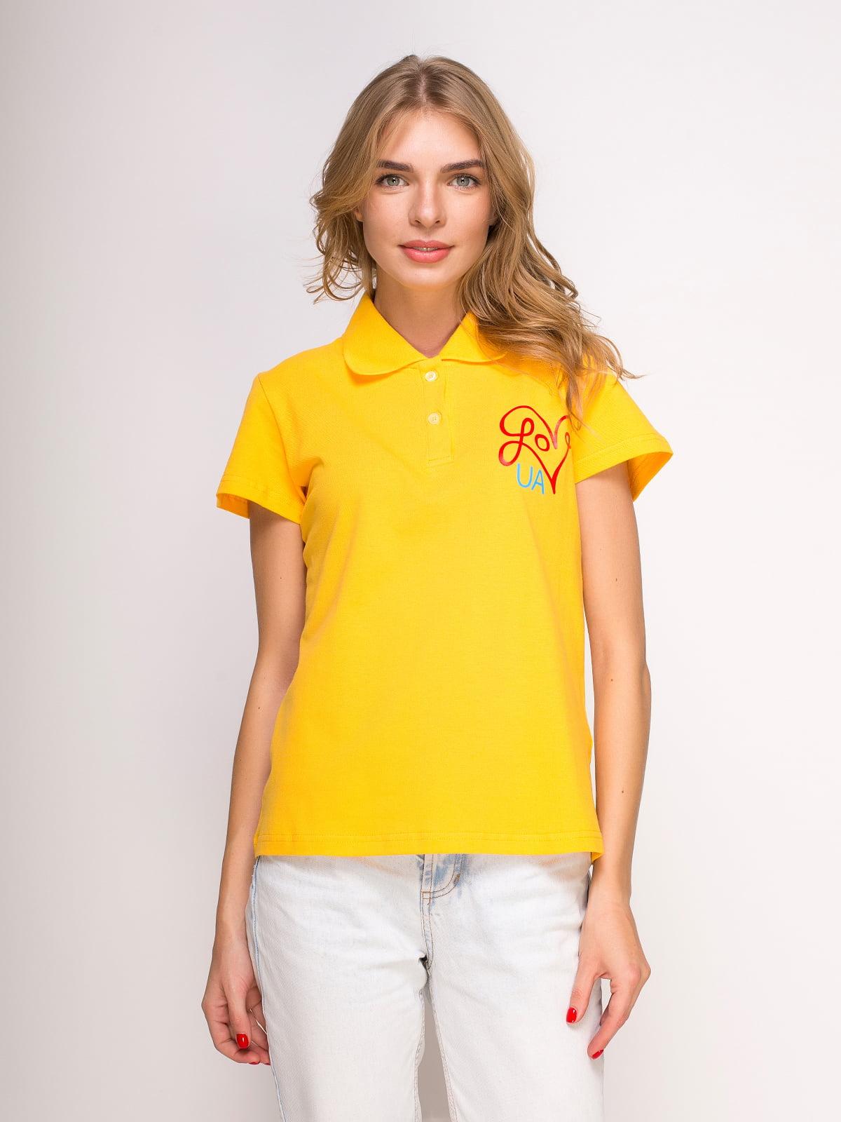 Футболка-поло желтая с принтом | 4583032