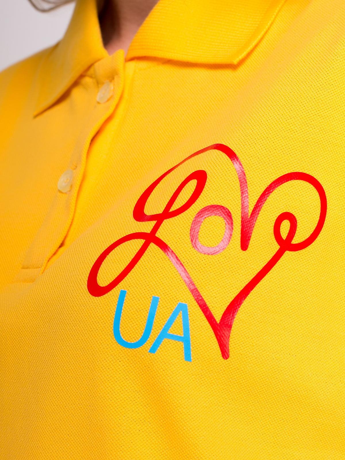 Футболка-поло желтая с принтом | 4583032 | фото 3