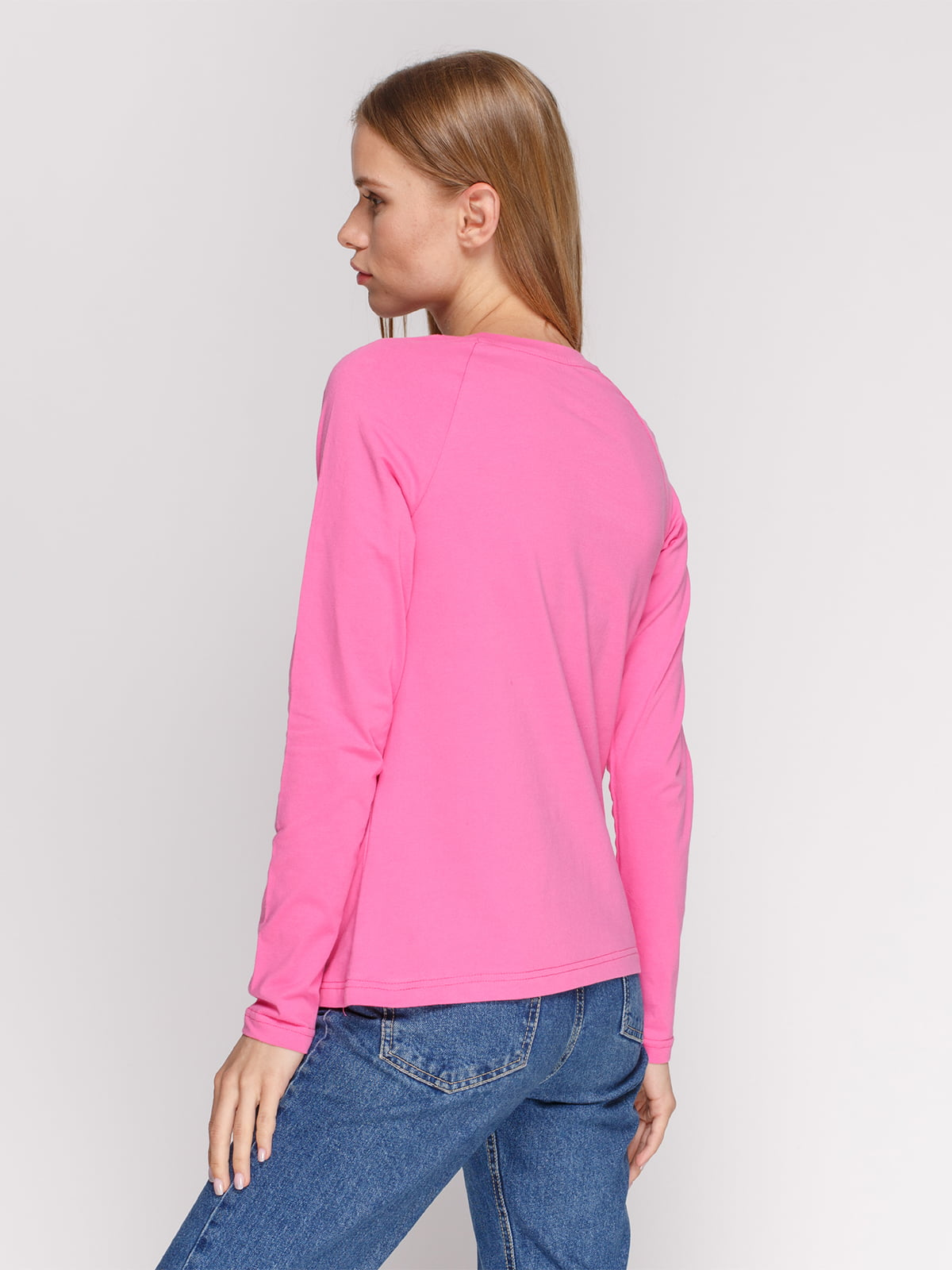 Лонгслив розовый с принтом   4577888   фото 2