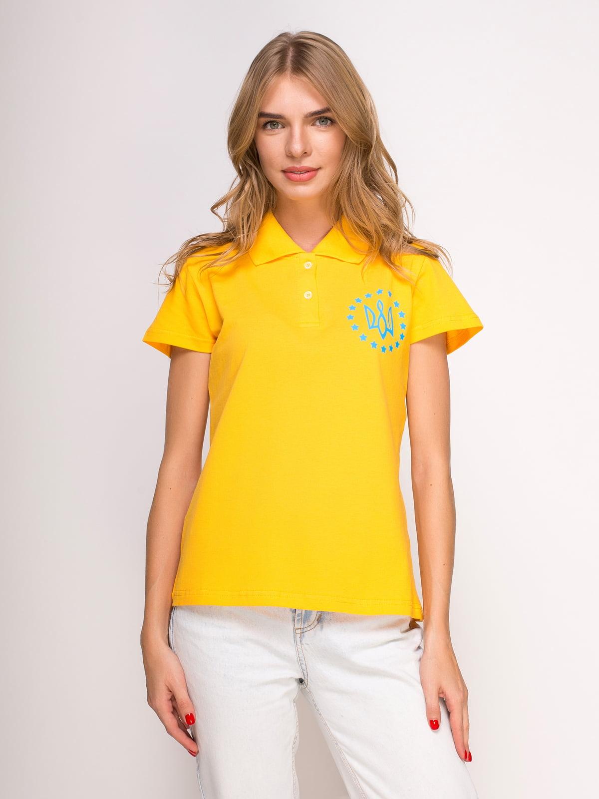Футболка-поло желтая с принтом | 4583033